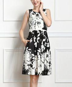 Black & White Floral A-Line Dress #zulily #zulilyfinds