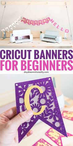 Cricut banner - Make Stunning Banners With your Cricut +Free SVG Templates – Cricut banner Cricut Banner, Cricut Vinyl, Cricut Air, Vinyl Projects, Craft Projects, Sewing Projects, Project Ideas, How To Make Banners, Cricut Craft Room