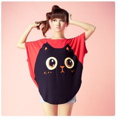 2013 New Summer Women Big Cat Smile Short Batwing Sleeved Shirt Cute Loose Fit Top (Red,Black) Freeshipping-in T-Shirts from Apparel & Acces...