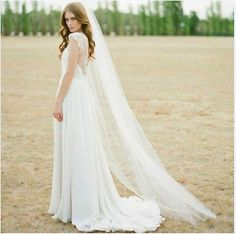 Stylish simplicity white beach wedding veil 1 Tier Light ivory tulle Bridal veil in Clothing, Shoes & Accessories, Wedding & Formal Occasion, Bridal Accessories | eBay