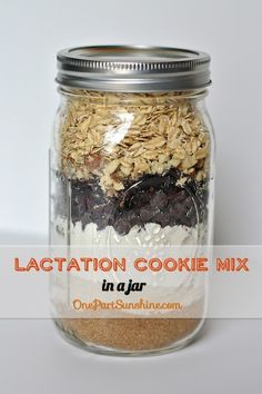 Lactation Cookie Mix in a Jar - great gift for new breastfeeding moms   OnePartSunshine.com Kit Cookies, Cookies Et Biscuits, Lactation Recipes, Lactation Cookies, Lactation Boosting Foods, Lactation Foods, Bebe Love, Breastfeeding And Pumping, After Baby