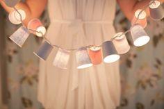 dixie cup garland. cute - wedding #dreamwedding #ruchebridal