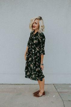 Dark Green Floral Midi | ROOLEE