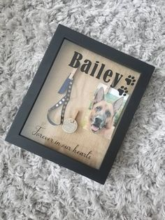 Custom Pet Memorial Shadow Box with Name, 8x10 Dog or Cat Memorial Box, Pet Loss Memory Box with Thr