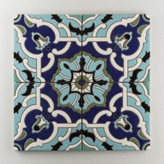 The Mediterranean Handpainted Collection: Liva C in the Cool Motif. Classic and timeless, Liva C is a masterpiece of the California Mediterranean style, glorious in soft shades or vibrant color. Available in a 8x8 size. $35/piece.