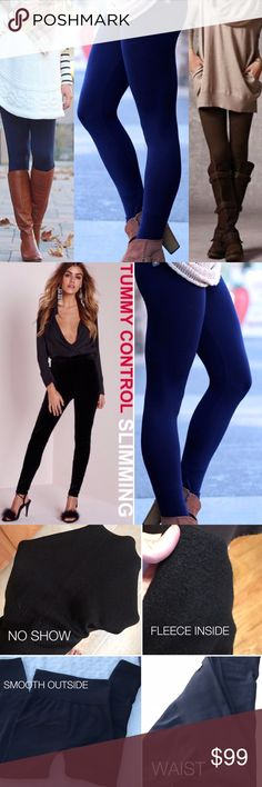 NAVY Fleece Leggings High Waist Tummy Tuck Skinny ⚠️ WARNING⚠️ When you get your hands on these, you'll  want EVERY color! ULTRA SOFT & LUXURIOUS & COMFY ⚠️ ❌PRICE FIRM  The BEST NAVY Fleece Leggings High Waist Tummy Control  *Black, Dark Brown, Navy, Charcoal, Burgundy Available -msg me if you want 1+, I'll need to make a custom listing for you  High Quality Boutique Leggings High Waist Tummy Control Slimming NOT SEE THROUGH Leggings Top Seller &100% satisfaction One Size  -65% Polyester…