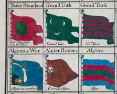 The weapon of Algeria featured an arm holding a broad curved sword, inspired by the North African nimcha. This was probably used by the Regent of Algiers, a vassal state of the Ottoman Empire. This is further confirmed by the Bowles's Universal Display of the Naval Flags of all Nations chart of 1783, describing it as the Algerian war flag, next to the Barbary corsairs' flag. Curved Swords, Naval Flags, Mounted Archery, Ottoman Turks, Types Of Swords, Dutch Language, Horsemen Of The Apocalypse, Catholic University