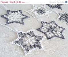 Black Friday SALE Christmas stars, crochet snowflakes, star of David, set of 6, Christmas tree ornament, home decoration, wall hanging, Han on Etsy, $13.60