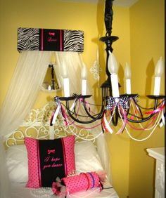 Zebra Bed Canopy Crib Crown HOT Pink Animal by SoZoeyBoutique