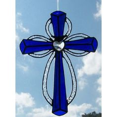 Simple Stained Glass Designs | Simple Stained Glass Cross Patterns Cobalt iridized blue cross