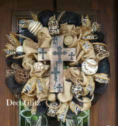 Burlap and Mesh SAFARI RUSTIC CROSS Wreath by decoglitz on Etsy