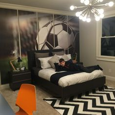 Pre-teen boy, soccer enthusiast bedroom. #preteenbedroom #soccer #bedroom…