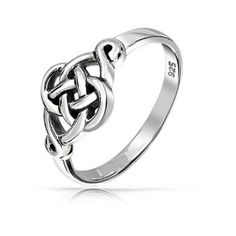 Bling Jewelry 925 Sterling Silver Irish Celtic Loveknot Ring ($21) ❤ liked on Polyvore featuring jewelry, rings, grey, sterling silver band rings, sterling silver celtic rings, sterling silver jewellery, band jewelry and knot jewelry