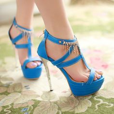 Heels: approx 14 cm Platform: approx 5 cm Color: Black, Blue, Green, White, Fuchsia Size: US 3, 4, 5, 6, 7, 8, 9, 10, 11, 12 (All Measurement In Cm And Please Note 1cm=0.39inch) Note:Use Size Us 5 As