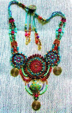 ~ Gypsy Queen ~ by AowDusdee Bead Embroidery Jewelry, Textile Jewelry, Beaded Embroidery, Jewelry Art, Beaded Jewelry, Jewlery, Fabric Necklace, Crochet Necklace, Beaded Necklace