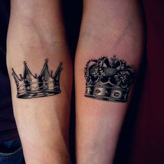 "Ink Your Love With These Creative Couple Tattoos - crown couple tattoo © tattoo artist Marcin ""PROCHU"" Proszowski ❤👑❤👑❤👑❤ - Crown Couple Tattoo, Crown Tattoo Men, Small Crown Tattoo, Best Couple Tattoos, Crown Tattoo Design, Best Neck Tattoos, Dope Tattoos, Forearm Tattoos, Unique Tattoos"