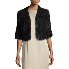 Escada Fringe-Trim Braided Leather Bolero Jacket (3.300 BRL) ❤ liked on Polyvore featuring outerwear, jackets, black, fringe jacket, 3 4 sleeve bolero, 3 4 sleeve bolero jacket, cropped jacket and cropped bolero jacket