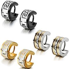 Aroncent 6PCS Fashion Jewelry Stainless Steel Hoop Stud Earrings for Mens *** You can get more details at http://www.amazon.com/gp/product/B014S9322Q/?tag=ilikeboutique09-20&ab=080816044822