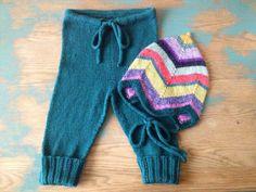 Hand Knit Baby Norwegian-Style Striped Hat & Drawstring Leggings/Pants Set (12-18 months)