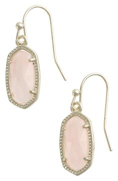 These small drop earrings from Kendra Scott are too precious! The combination of rose quartz and gold makes for a dainty earring.