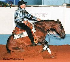 Horse Reining -- A beautifully balanced sliding stop on a loose rein, with the horse sitting deep on his haunches.