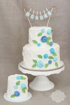 Reagan's 1st Birthday, Rustic Garden Cake  with Charming Blue flowers and a touch of Burlap. La Dolce Dough - Sylvania Ohio