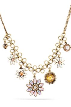 Le Chic - Gold Chain Rainbow & Yellow Stone Flower Necklace