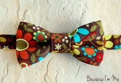 Brown Floral Mens Bowtie pre-tied and adjustable by becauseimme (Accessories, Suit & Tie Accessories, Bowties, dressy suit, casual dress wear, preteen bowtie, pretied adjustable, infant ties, teamfest, semiformal, brown, retro floral, flowers, mens bow tie, bowtie, summer)