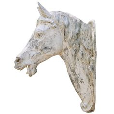 J. W. Fiske Cast Zinc Horse Head | From a unique collection of antique and modern statues at https://www.1stdibs.com/furniture/building-garden/statues/