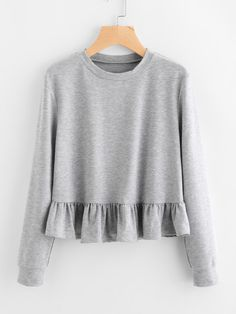To find out about the Frill Hem Slub Sweatshirt at SHEIN, part of our latest Sweatshirts ready to shop online today! Dress Outfits, Casual Outfits, Cute Outfits, Grey Sweatshirt, Sweat Shirt, Hijab Fashion, Fashion Dresses, Flirt, Frill Dress