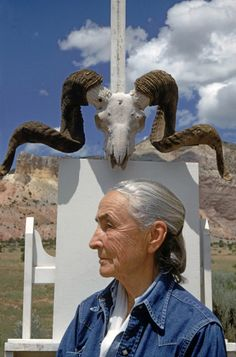 "hardkoppig: "" Georgia O'Keeffe, Ghost Ranch, NM (1968). By Arnold Newman """