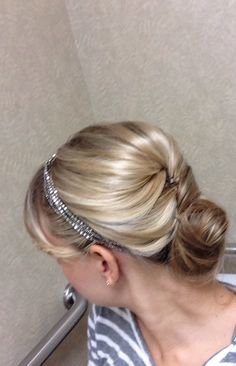 Twist and bun. Headband. Hairstyle. Blonde