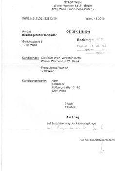 Brief von Wiener Wohnen Math Equations, Pageants, Personalized Items, District Court, Homes