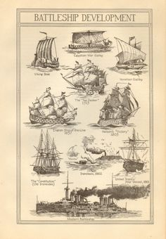 Vintage Book Plate Battleship Development by amykristineprints, $3.00