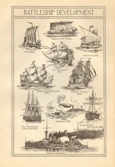 Vintage Book Plate Battleship Development by amykristineprints, $3.00