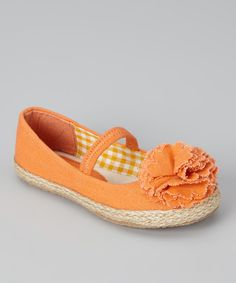 Take a look at this Orange Lulu Strap Flat - Kids on zulily today!