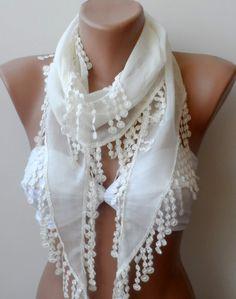 Cream summer cotton scarf Super Elegant by elegancescarf on Etsy, $13.50
