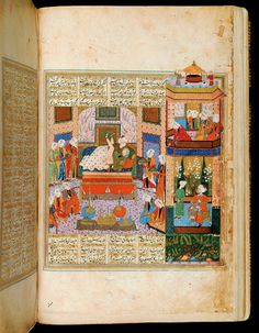 "A copy of Nizami's Khamsa. This miniature (fol. 107 verso): ""The Consummation of the Marriage Between Khusraw and Shirin"" Iran, Shiraz; c. 1560 Leaf: 35.5 × 23 cm This miniature is an illustration for the romance ""Khusraw and Shirin,"" the second book that makes up the Khamsa (Quintet). The Iranian king Khusraw has heard of the ravishingly beautiful Armenian princess Shirin, who after having seen his portrait becomes deeply enamored of him."