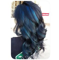 Black Wavy Hair with Blue Peekaboo Highlights. Black Wavy Hair with Blue Peekaboo Highlights. Hair Color And Cut, Hair Color Blue, Black Hair With Color, Purple Hair, Blue Peekaboo Highlights, Black Hair With Blue Highlights, Dark Hair With Blue, Deep Blue, Redken Hair Color