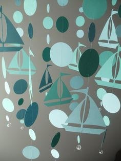 Sailboat and Circles Mobile by SouthernPearlDesigns on Etsy