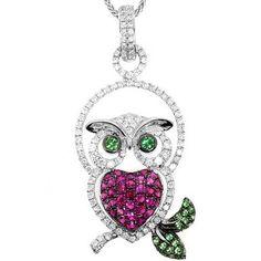 Adorable Diamond & Ruby Owl Pendant Necklace 18k White Gold $1,990
