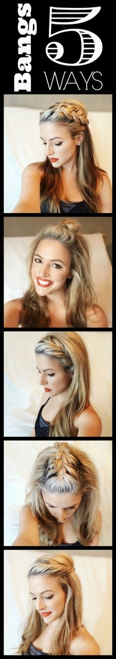 Hair Tutorial: Bangs Five Ways - Love every one! ~ we ❤ this! moncheriprom.com