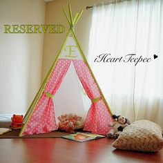 Childrens Teepee by iheartteepee on Etsy, $190.00-want this for Addison, so cute! Childrens Teepee, Girl Room, Hanging Chair, Playroom, Toddler Girl, Crafts For Kids, Projects To Try, Crafty, Trending Outfits