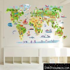 Mapa mundi de dibujos - Vinilos infantiles. Kids world map illustrated