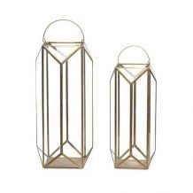 TALL GEOMETRIC GLASS AND GOLD FRAMED HURRICANE LANTERN FOR WEDDING OR PARTY DECOR   Candleholders Archives - Hire and Style | Hire and Style