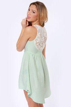O'Neill Statement Lace and Mint Print Dress