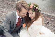A Peach Rose and Black Dahlia Floral Crown For a Scottish Castle Wedding...  Image credit: http://www.candysnaps.co.uk