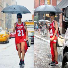 Rihanna wearing adidas Originals x Jeremy Scott red tail tank, Air Jordan 1 sneakers, Le Specs Bowie sunglasses, Chanel choker necklace, Jennifer Meyer lizard cuff