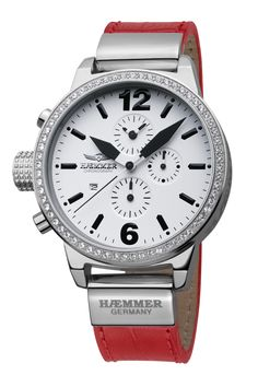#HaemmerWatches Available At www.chronowatchcompany.com     DHC-15 ELECTRA                                                                         Quartz chronograph  Stainless steel case with 45mm radius brightly polished Swar  Red calfskin strap (croco embossing)  Belt clasp  Hardened mineral glass  Screw-down crown & case back  White dial  Deep-black hands  Date function  100 meters water resistant. Available at www.chronowatchcompany.com