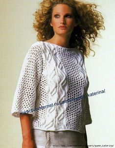 08 (543x700, 302Kb) Sweaters For Women, Women's Sweaters, Lace Tops, Ruffle Blouse, Knit Crochet, Tricot Crochet, Sweaters, Lace Peplum Tops